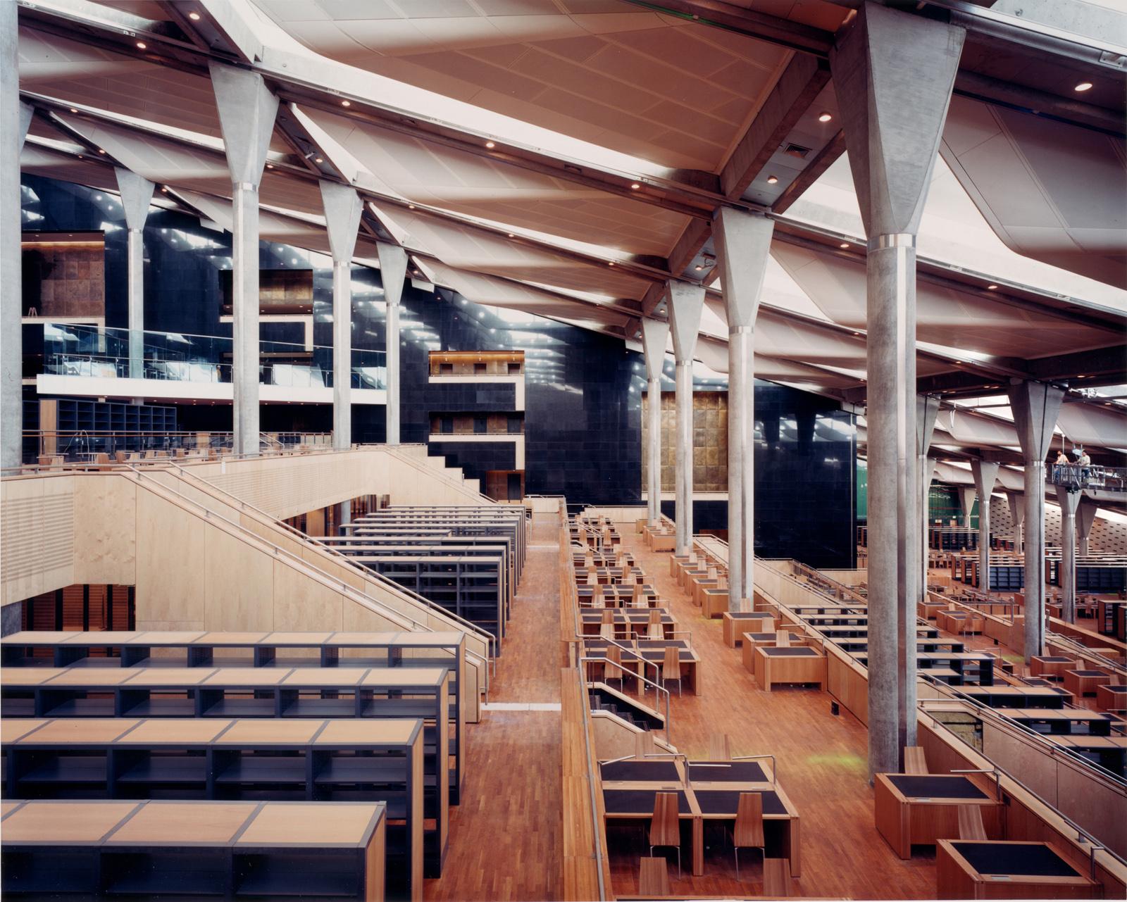 The interior of the Alexandria Library in Alexandria, Egypt. Photo by James Willis, courtesy Snøhetta and SFMoMA.