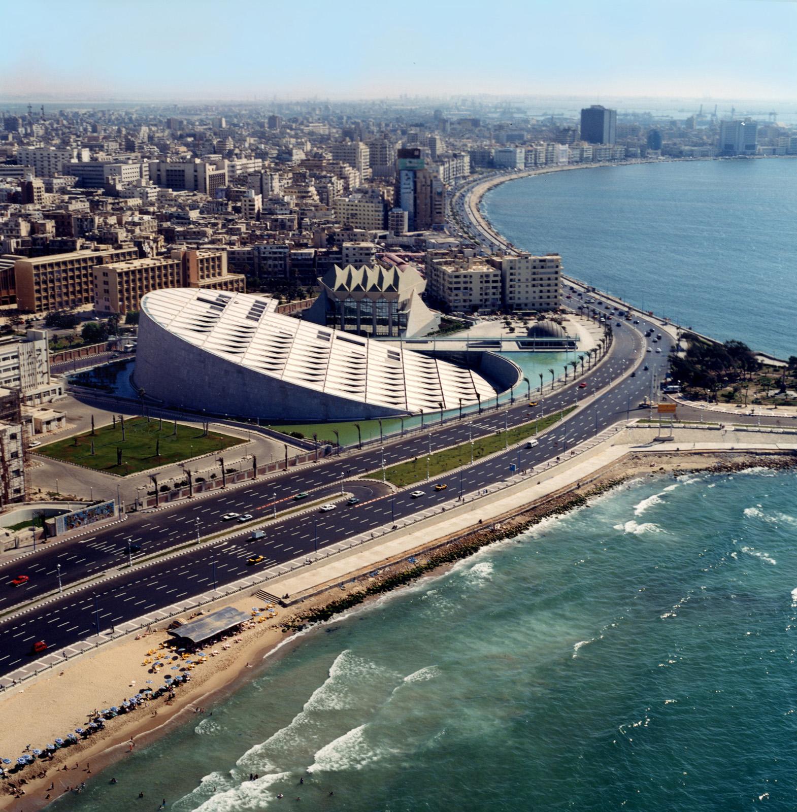 The Alexandria Library in Alexandria, Egypt. Photo by James Willis, courtesy Snøhetta and SFMoMA.