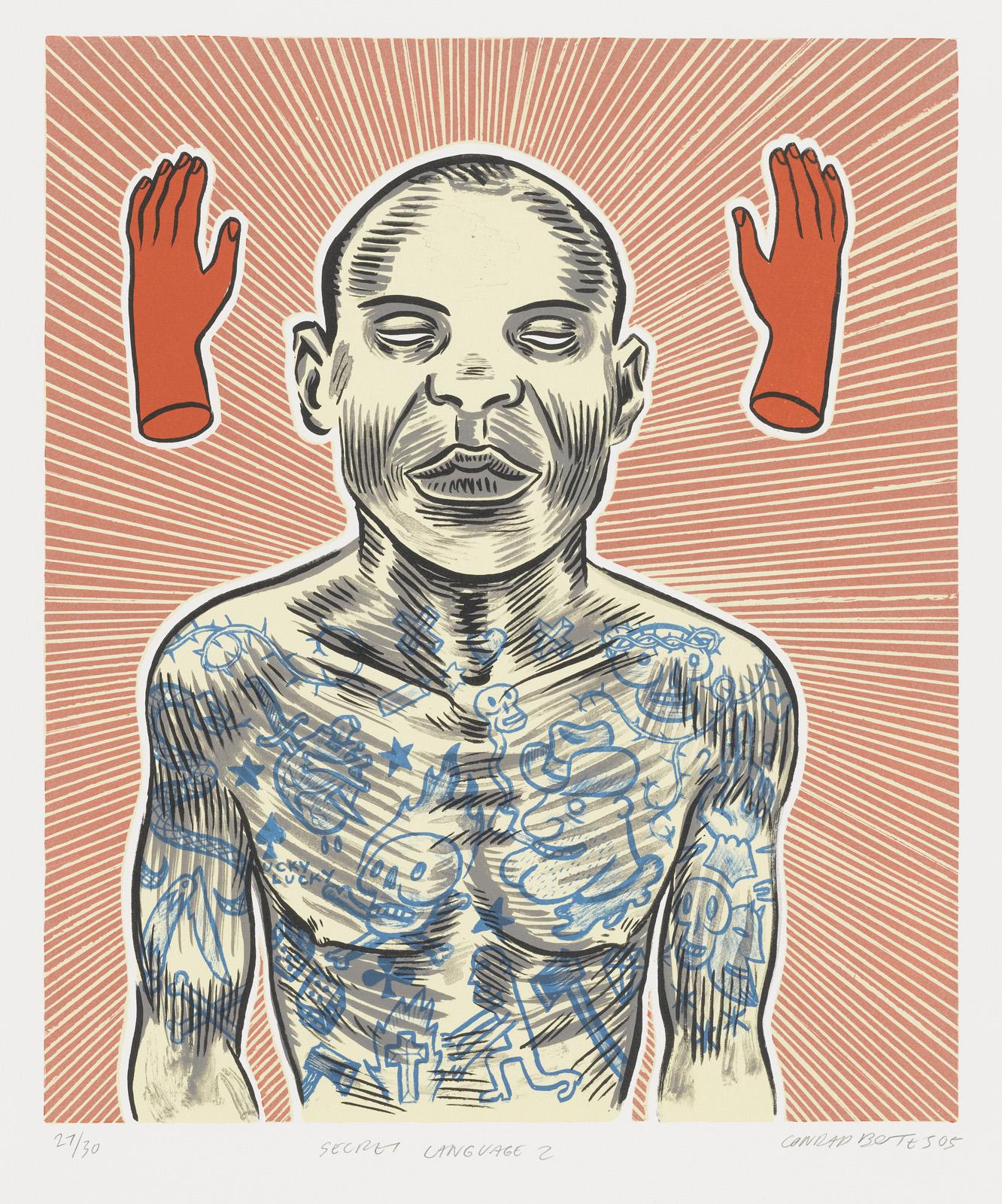 "Conrad Botes (South African, born 1969). <i>Secret Language II</i>. 2005 Lithograph, composition: 17 11/16"" x 14 15/16"". Image courtesy MoMA."