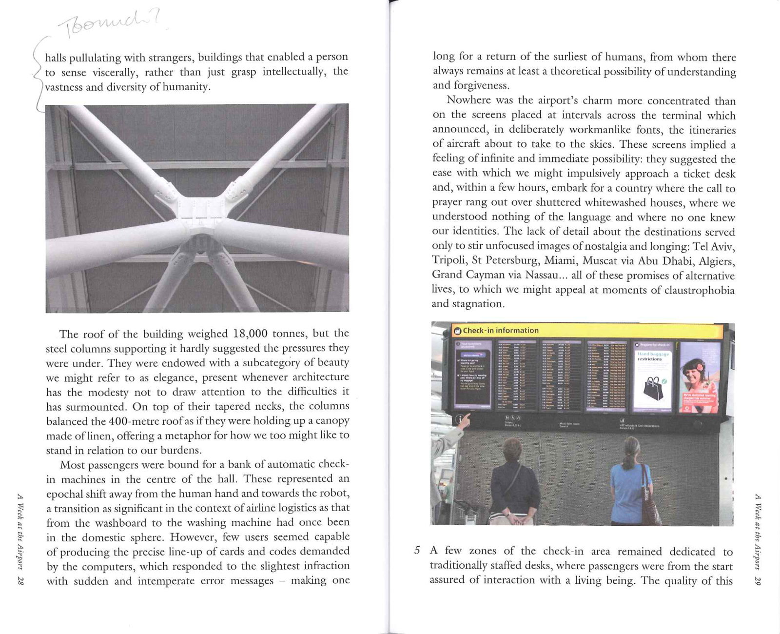 This spread from the book shows two points of interest to travelers: the stunning supports Richard Rogers designed to keep Terminal 5 up, and a list of gates for passengers. Photos by Richard Baker.