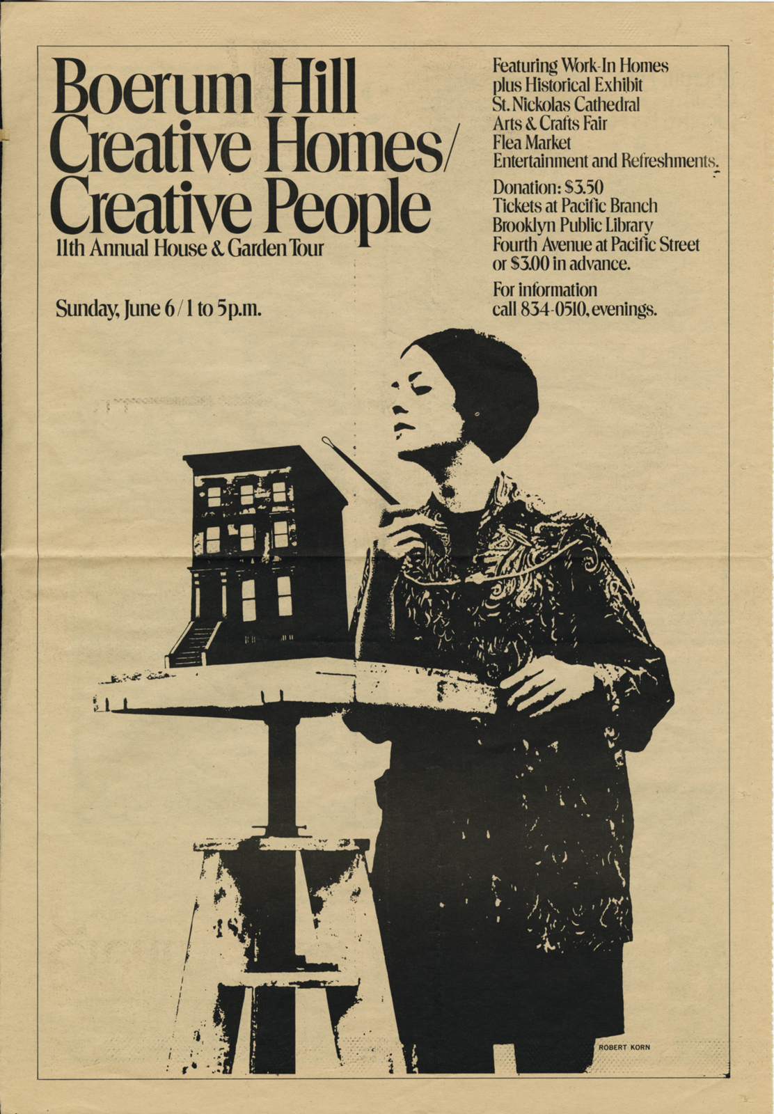 """Brownstone Brooklyn creatively reimagined by a new middle class. A 1976 home tour poster by the Boerum Hill Association shows a """"creative"""" brownstoner sculpting a brownstone. (Courtesy of Robert Korn.)"""