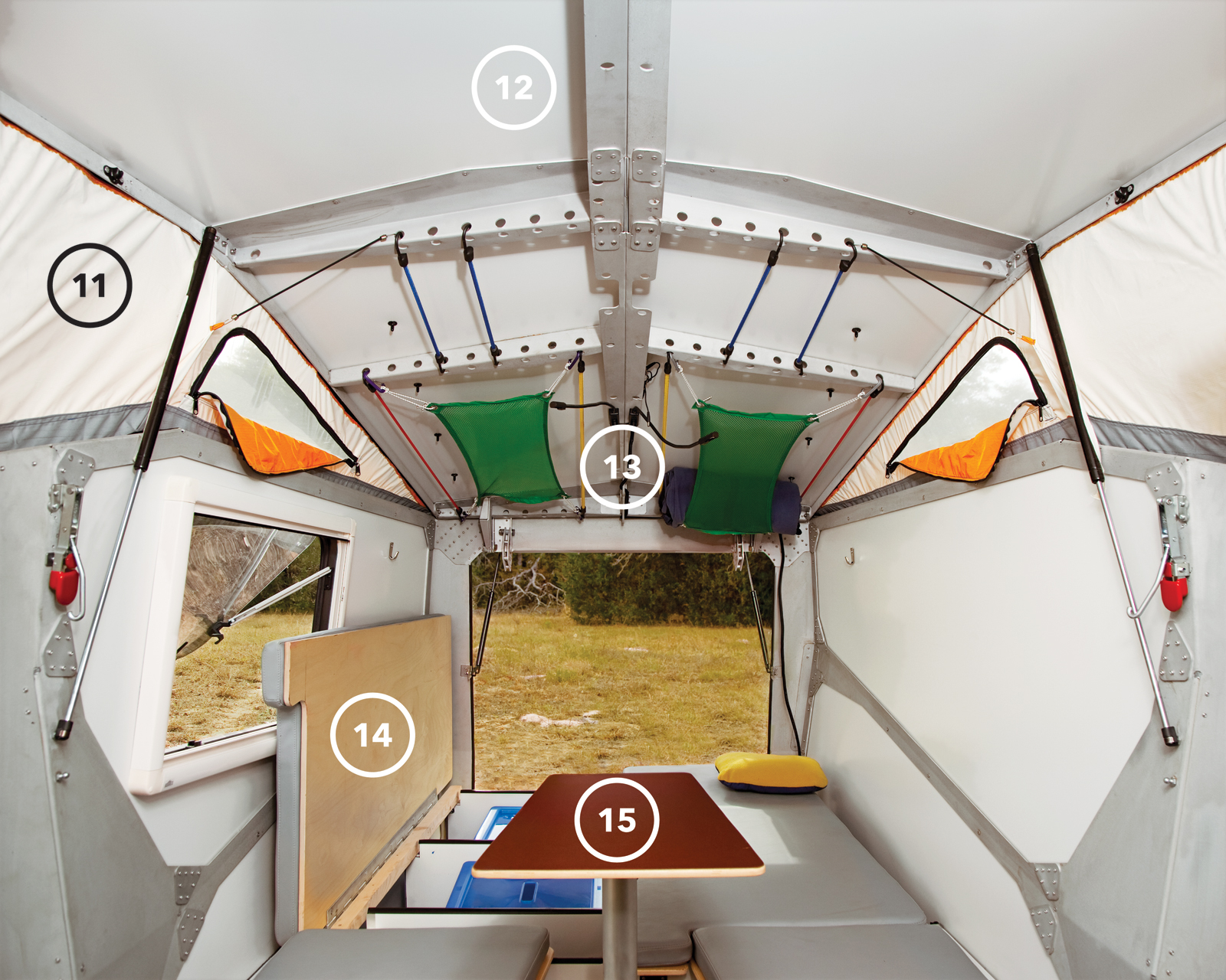 While the front, kitchen-end of the camper is all action, the back half is about rest and relaxation. The benches hide storage space beneath and, at night, become the sleeping area (14). The multiheight table (15) serves as an eating spot when in its high