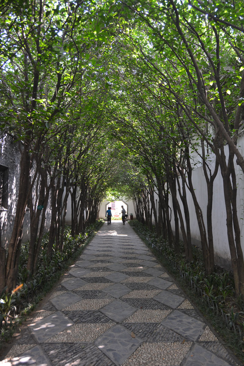 """Shahid started her last legs of cycling in Yangzhou, about 180 miles northwest of Shanghai. This tree-covered walkway connects courtyards in the city's Ge Garden. """"Walking down the main streets, one would never guess that the interiors of the old building"""