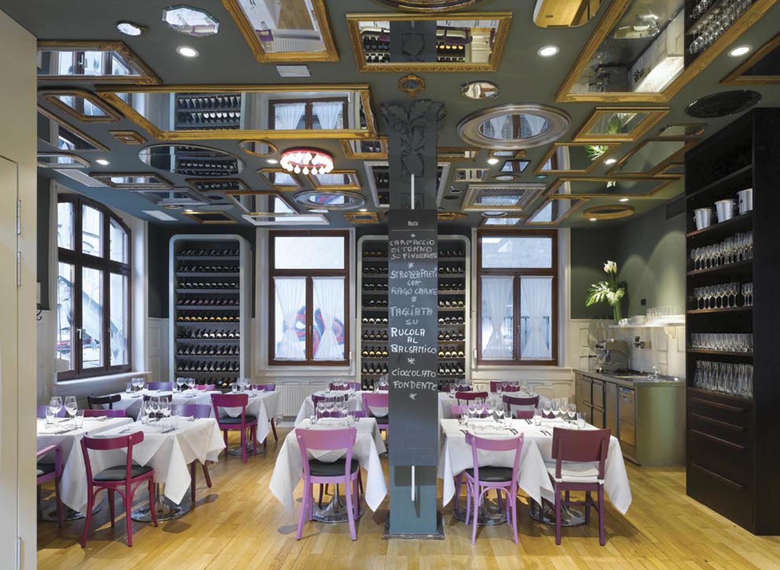 """Spread from <i>Design Taste</i>: <a href=""""http://www.bella-italia-weine.de"""">Bella Italia Weine</a> restaurant in Stuttgart, Germany. Interior design by <a href=""""http://www.ifgroup.org"""">Ippolito Fleitz Group</a>."""