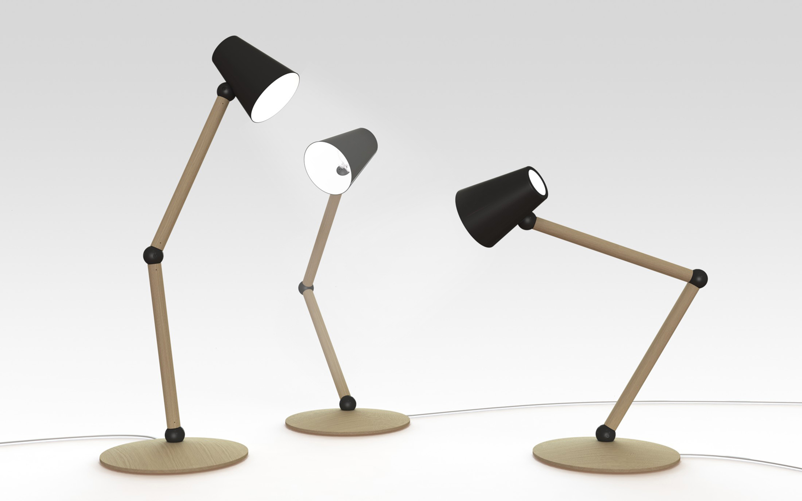 The Companion table lamp is lit by an LED bulb.