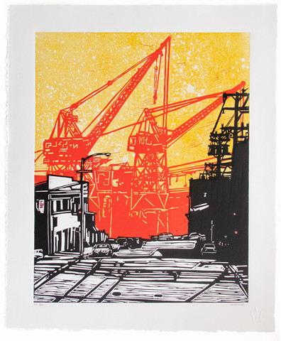 """""""<a href=""""http://www.3fishstudios.com/collections/gallery/products/dogpatch"""">Dogpatch</a>"""" linocut by Eric Rewitzer for 3 Fish Studios."""