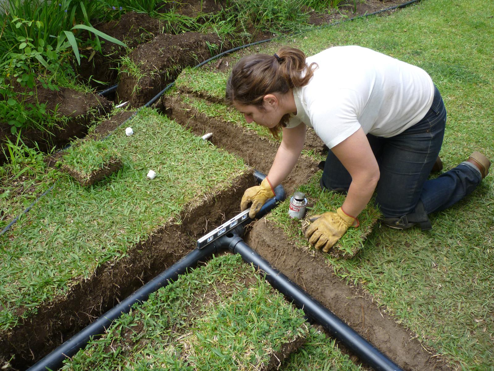 A branch drain system instillation in progress.