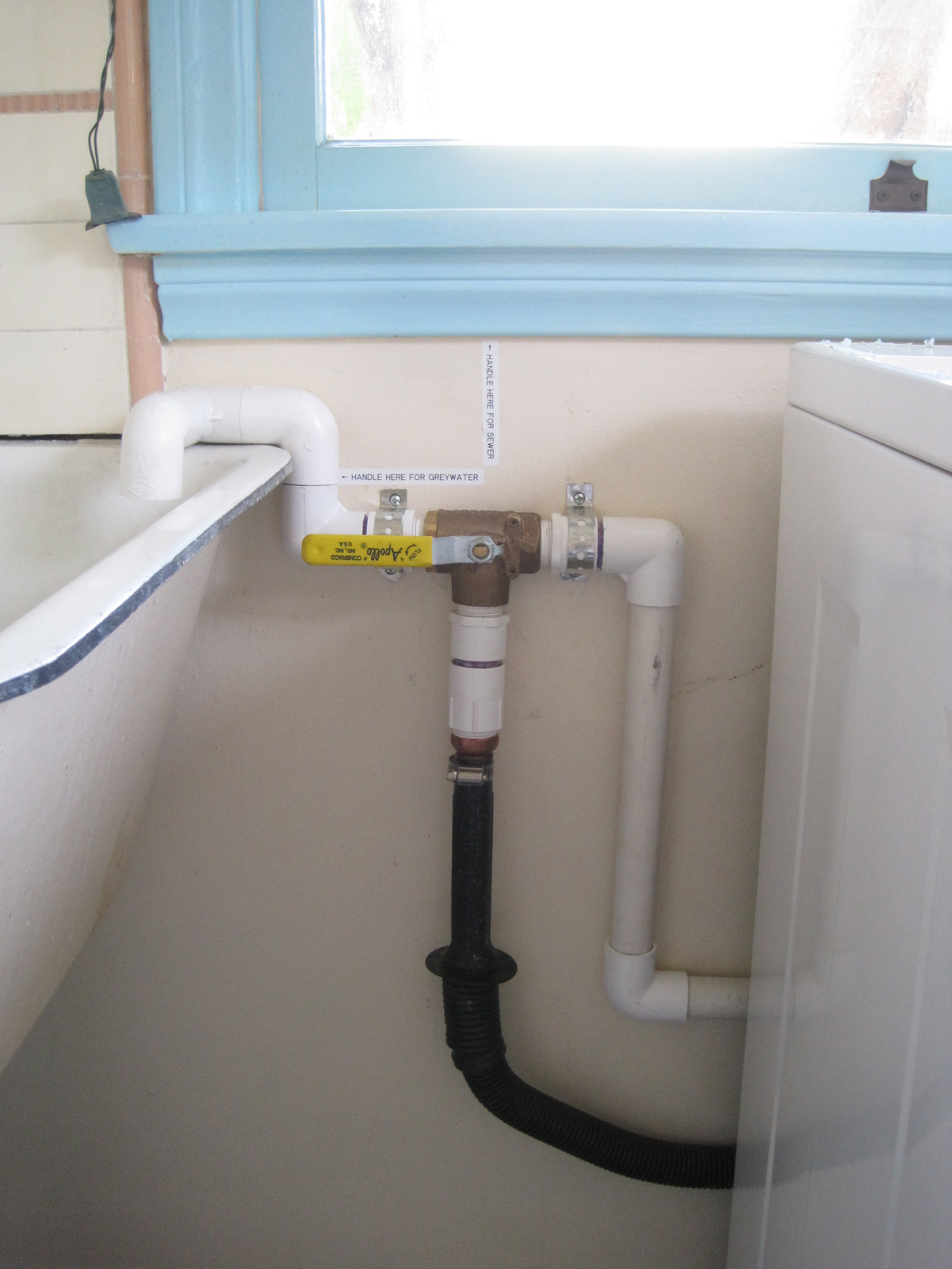 A laundry diverter valve, which will let you send greywater to your landscaping or to the sewer (as required by California law).