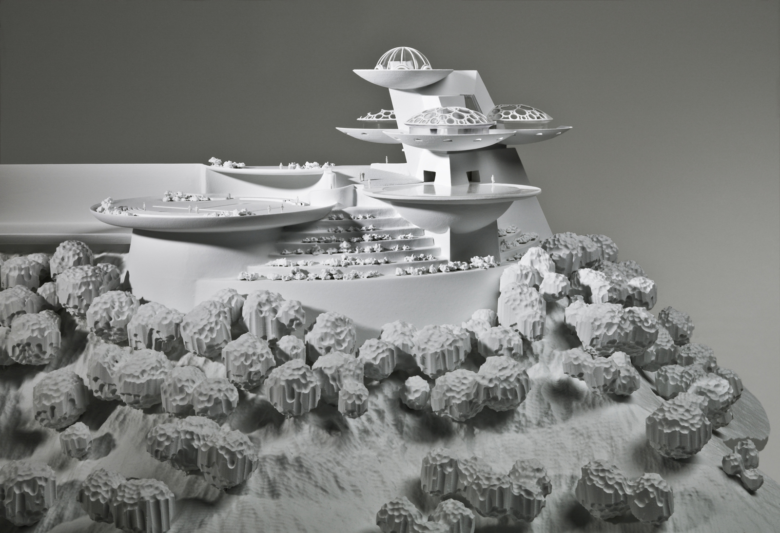This model of Wright's never-built Huntington Hartford Sports Club/Play Resort was made by Situ Studio in Brooklyn. It was to be built in Los Angeles as a pleasure center for the wealthy.