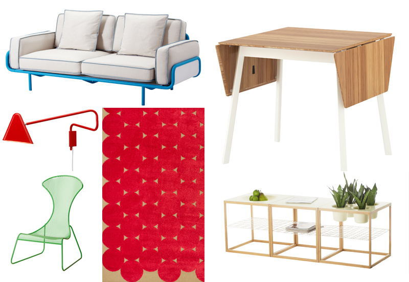 A few favorites from the PS 2012 offerings, clockwise from top left: sofa on a tubular steel base, a convertible bamboo dining table, side tables that include three different tabletops, dot rug, a stacking easy chair of powder-coated steel, and an LED wal