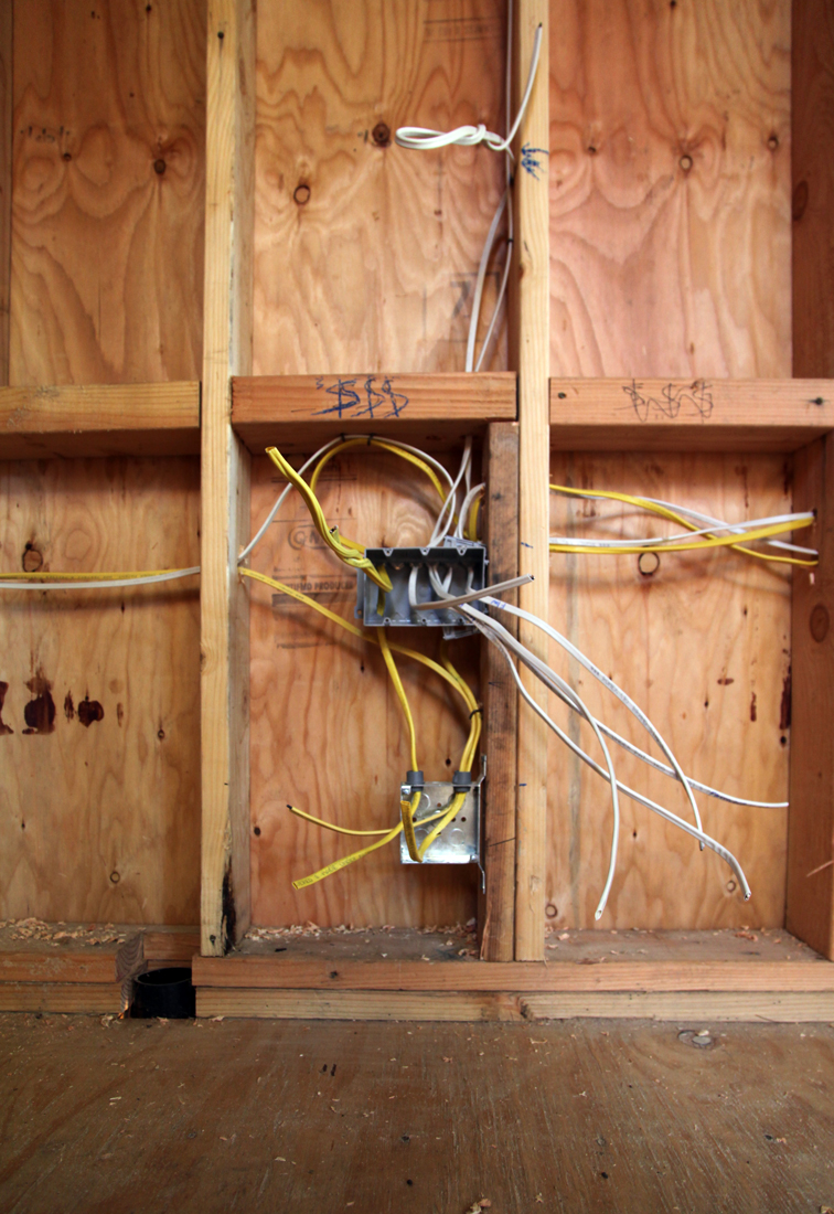 Here's a shot of the wiring to a switch box and a receptacle for electrical outlet.