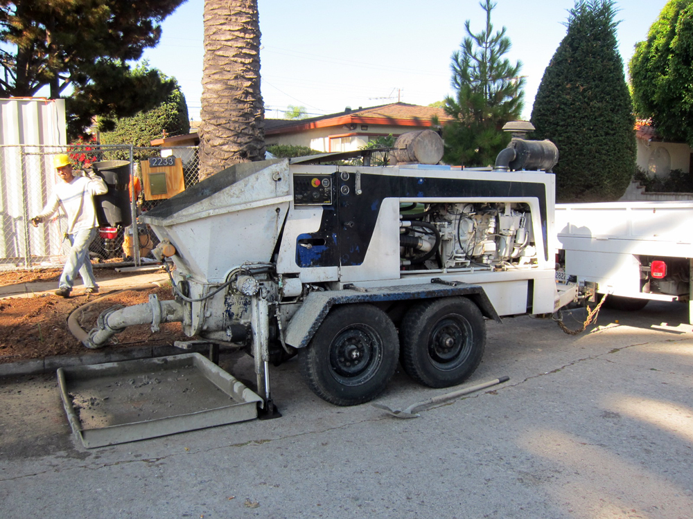 The pump that will push the concrete down a hose from the street to the furthest part of the site some 129 feet away.