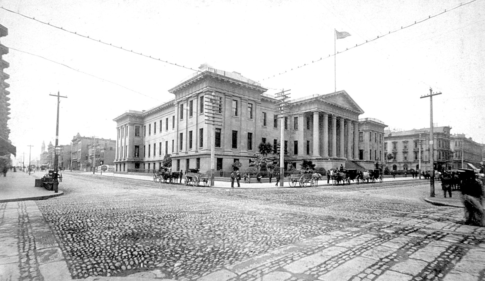Here's a picture of the Old Mint from 1889. It still stands at the corner of Mission St. and Fifth St. in large part thanks to it's foundation, which rests of loose gravel and soil, allowing the building to roll and shift during the 1906 earthquake instea