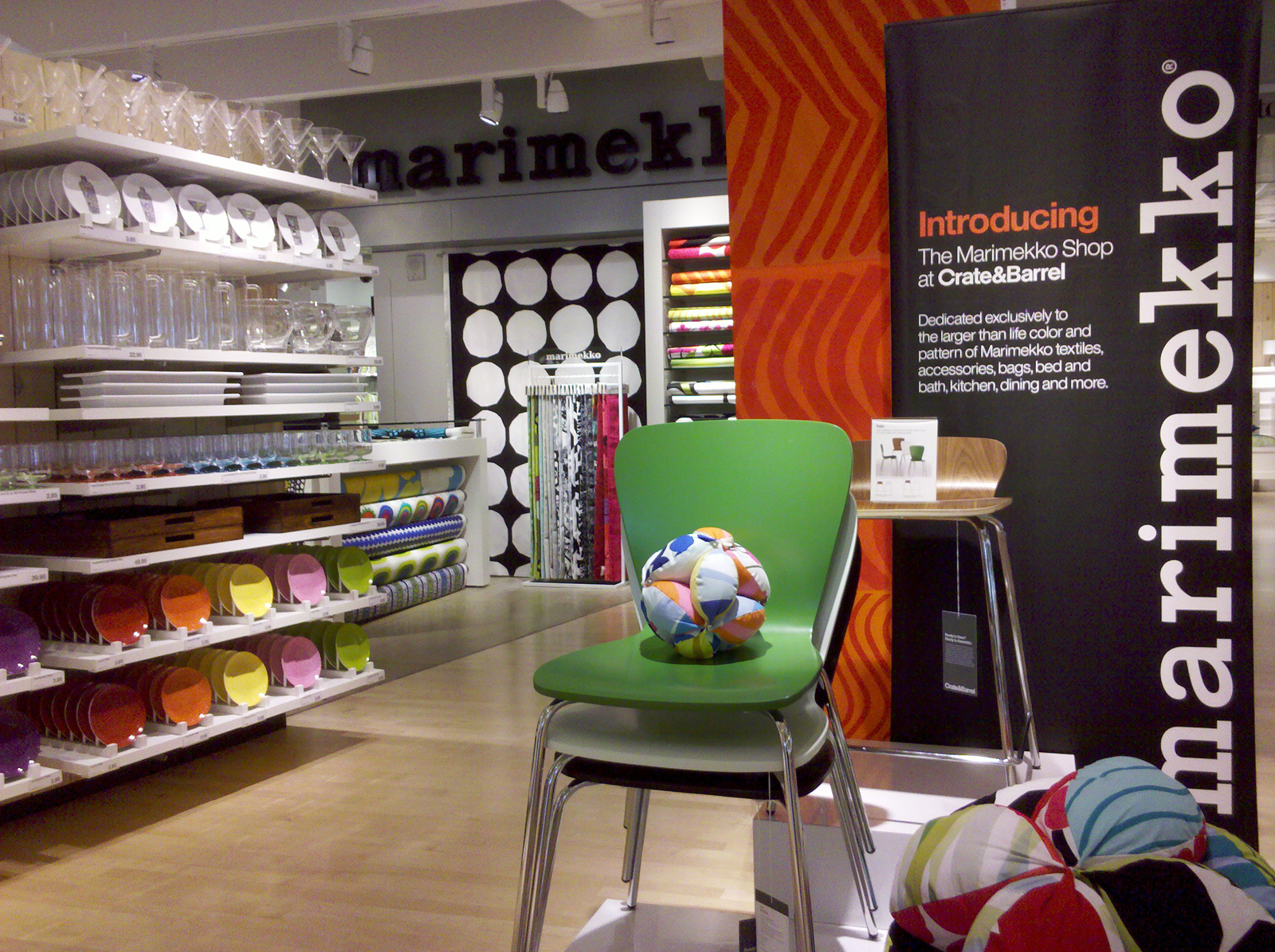 The new shops feature an array of Crate & Barrel-exclusive bedding and bathroom products made with Marimekko textiles as well as fabrics by the yard and other products by the Finnish design company.