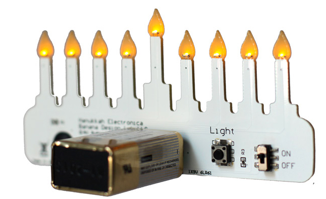 Hannukah Electronica is a small LED menorah that is perfect for travel.