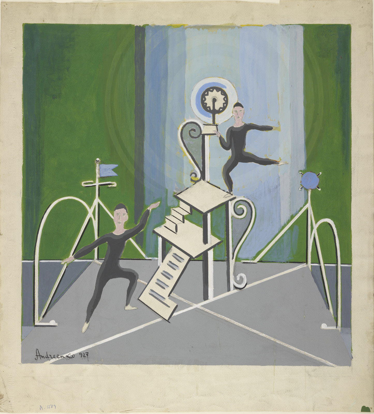 "This bit of set design by Mihail Fedorovitch Andreenko was done in 1927 for the ballet ""The Acrobats."" It's one of my favorites from the show Creating the Modern Stage."
