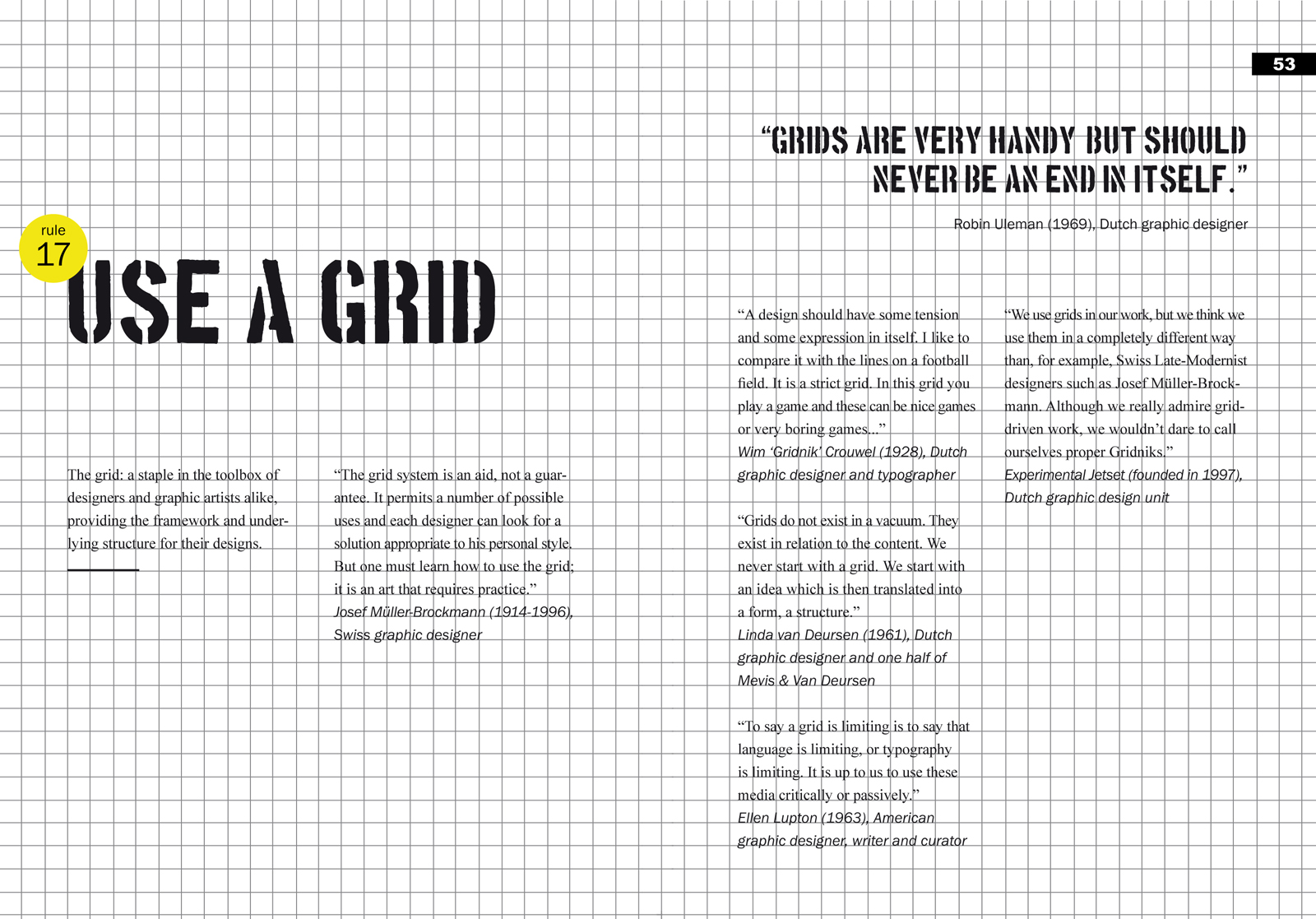 Never Use White Type On A Black Background Use A Grid Spread