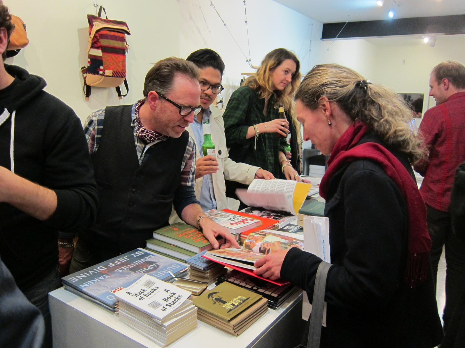 Through the holiday season, the San Francisco menswear shop Maas & Stacks is hosting a pop-up gift shop curated by Larry Schaffer (in the glasses and vest) of the LA design shop OK Gallery. Quite a good crowd turned out for the opening party on November 1