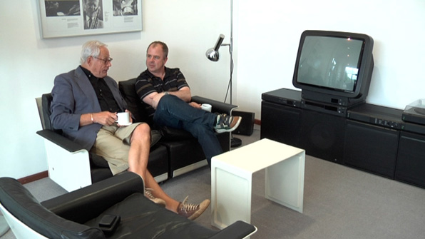 On September 21, director Gary Hustwit (shown here on the right with designer Dieter Rams in a still from his design documentary <i>Objectified</i>) will be screening his new film <i>Urbanized</i> at the Sundance Kabuki Cinemas.