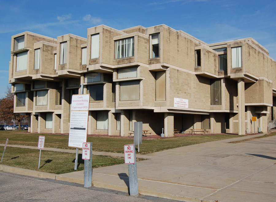 Here's the exterior of the Paul Rudolph–designed structure.