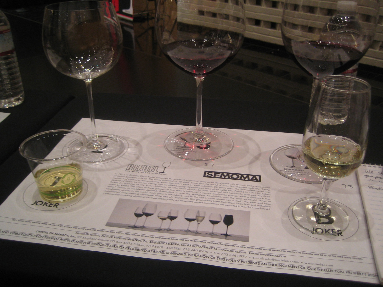 """My placemat with the trio of Sommeliers glasses and the pair of """"Jokers""""--the plastic cup and a run-of-the-mill wineglass."""