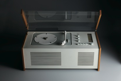 """One of Rams' most iconic designs, the SK 4 radio-audio combination is from 1956 and was co-designed with Hans Gugelot. Critics famously dubbed this stereo """"Snow White's coffin,"""" but the inclusion of a clear acrylic lid to a record player would soon become"""