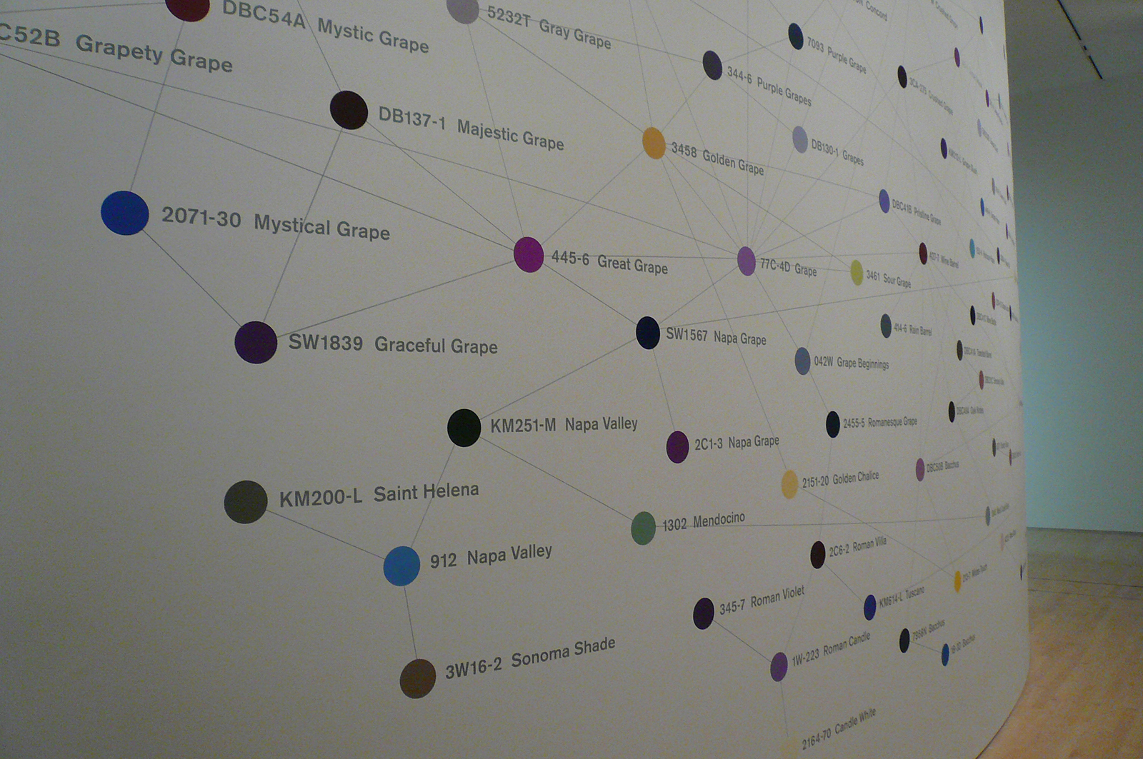 At the entrance to the exhibition is Peter Wegner's mural 'Veritas,' which charts over 200 paint colors named after wine and grapes, from Bacchus to Grapety Grape.