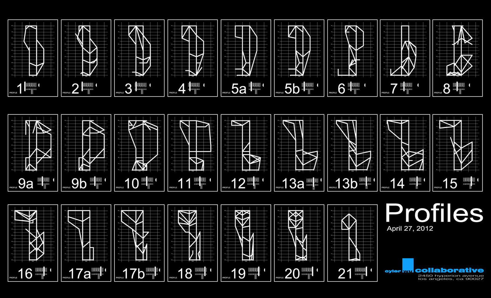 Fabrication drawings showing the exact shape of each profile and how it sits on the grid.  There are 25 profiles in total.