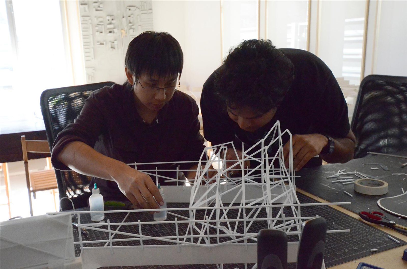 Here we are building the frame using polystyrene sticks.