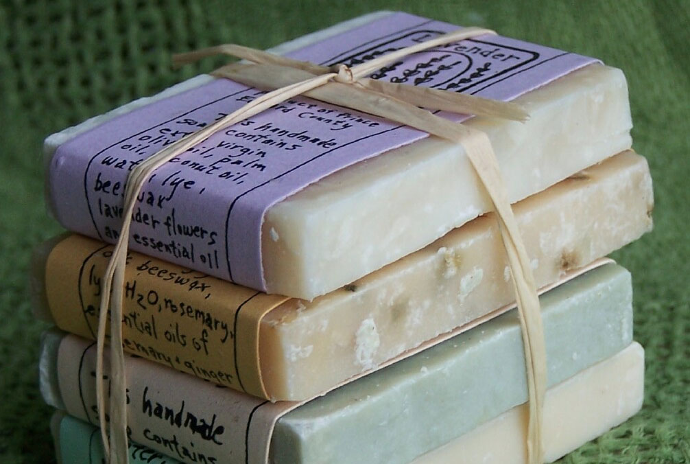 Stack of soaps by Honey pie Hives and Herbals