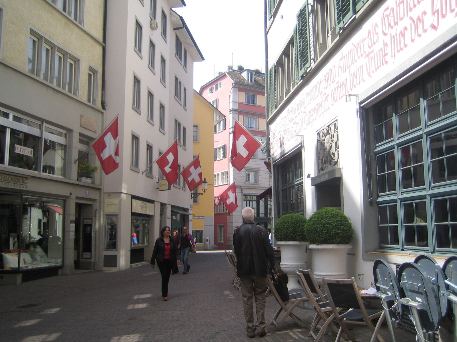 One of the winding streets in Zurich's medieval center.