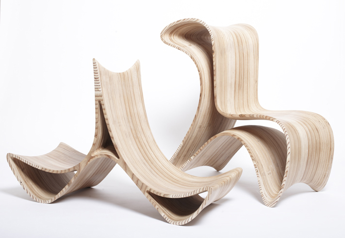 """The two parts of Marco Hemmerling's nesting """"Triwing"""" chair. Photo by Dirk Schelpmeier."""