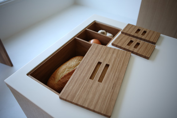 Make that bread box and bread bin. These In-Counter Storage Modules also help keep the prep area clear.