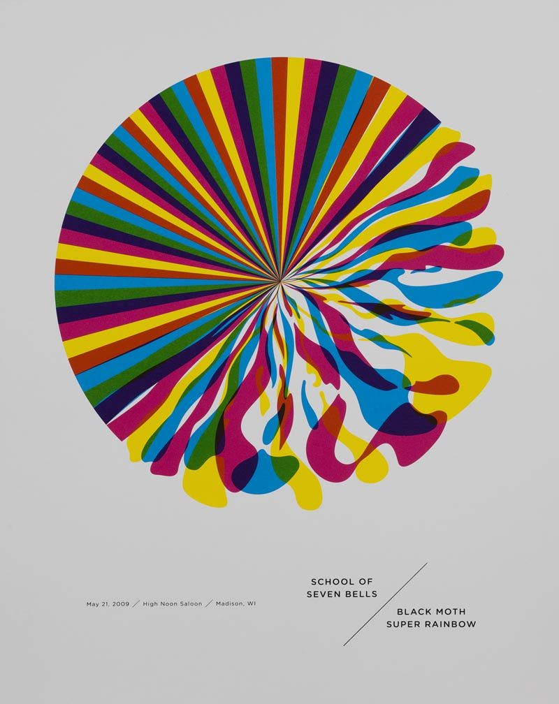 <i>School of Seven Bells/Black Moth Super Rainbow</i> screen print designed in 2009 by Jason Munn.