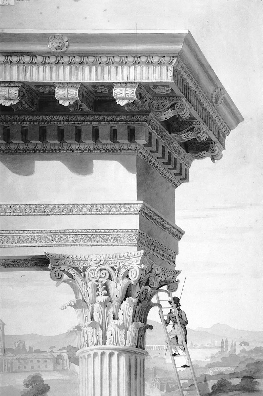 This drawing taken from Roman Forum by David Watkin is by Henry Parke (c. 1810) and shows a student of architecture climbing up to the top of the Temple of Castor and Pollux, measuring rod in hand. The drawing shows an idealized temple, not the ruin that