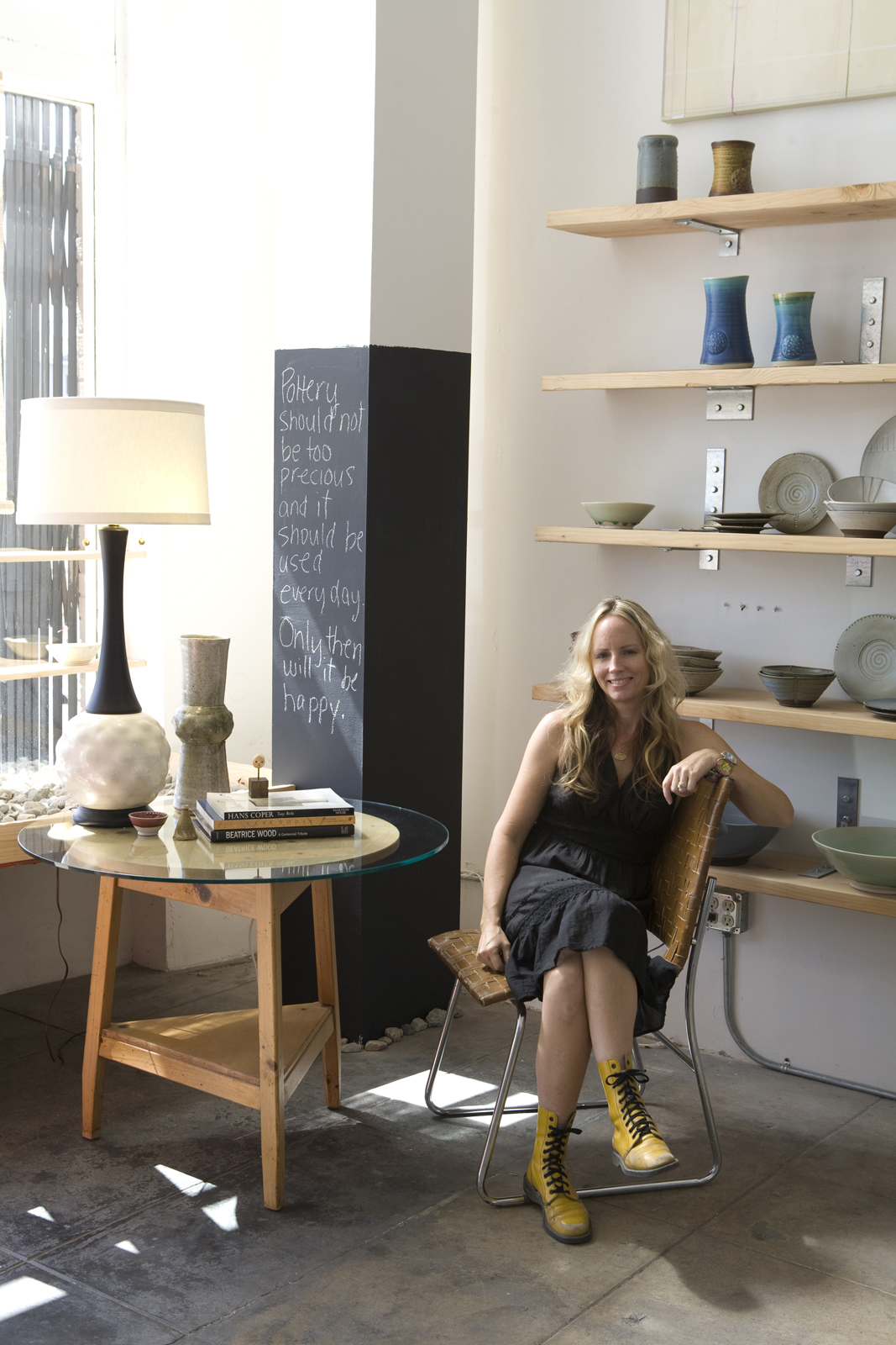 Anton at her studio, with her wares.<br /><br />Photo courtesy of Lesley Anton.