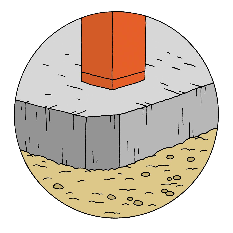 austin residence illustration concrete foundation