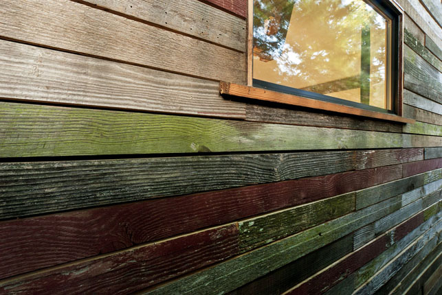 Each of the boards is left as they were originally found (minus the errant nails and screws from their original structures) and when juxtaposed, the colors are quite striking.
