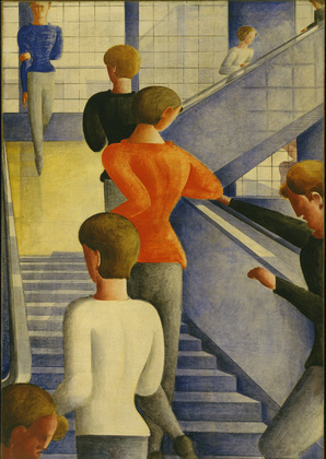 "Oskar Schlemmer. Bauhaus Stairway. 1932. Oil on canvas. 63 7/8 x 45"" (162.3 x 114.3 cm). The Museum of Modern Art, New York. Gift of Philip Johnson. © 2009 Estate of Oskar Schlemmer, Munich/Germany"