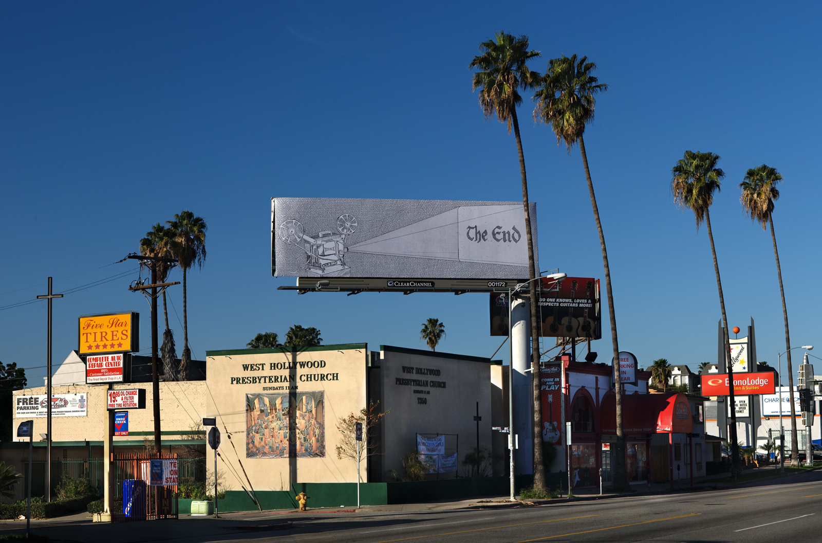 Jennifer Bornstein's billboard at Sunset and Martell suggests ominous things. For billboards themselves, for the film industry? Photo by Gerard Smulevich.
