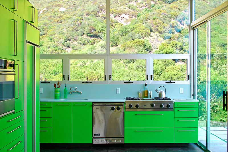 """""""This is the Beauvoir House, located in Las Flores Canyon in Malibu,"""" says Bolander. """"The color was influenced by the color of the new growth on the chaparral that surrounds the house. The house and kitchen are both very small; the house is about 1600 squ"""