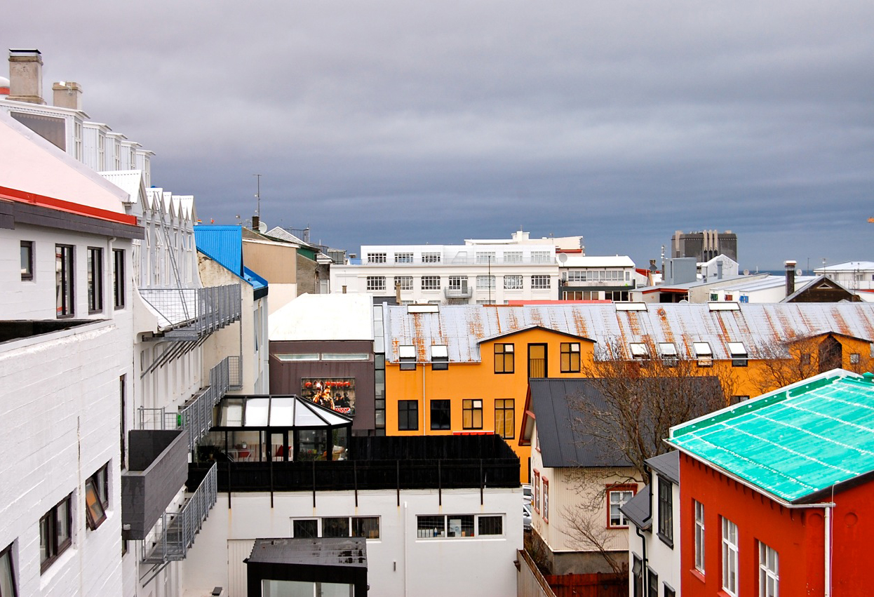 Buildings seen from our Penthouse terrace framed pops of color perfectly.