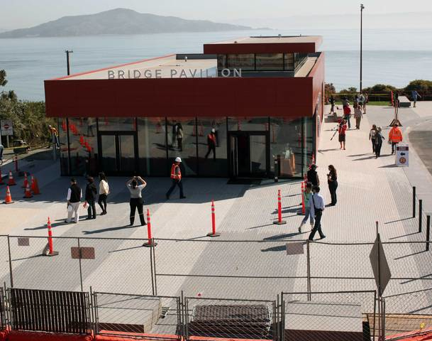 The new 3,500 square foot Bridge Pavilion stands on the San Francisco side of the Golden Gate Bridge.