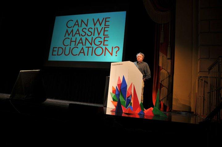Education was a key focus of designer Bruce Mau's talk. Photo courtesy Compostmodern.
