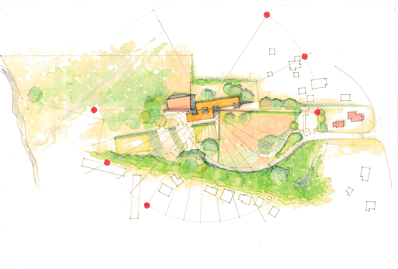 The rendering demonstrates how the orientation of the proposed building maximizes solar energy. The orange dots represent the sun's arc at its highest, middle, and lowest points. South-facing windows combined with rammed-earth and straw-bale construction