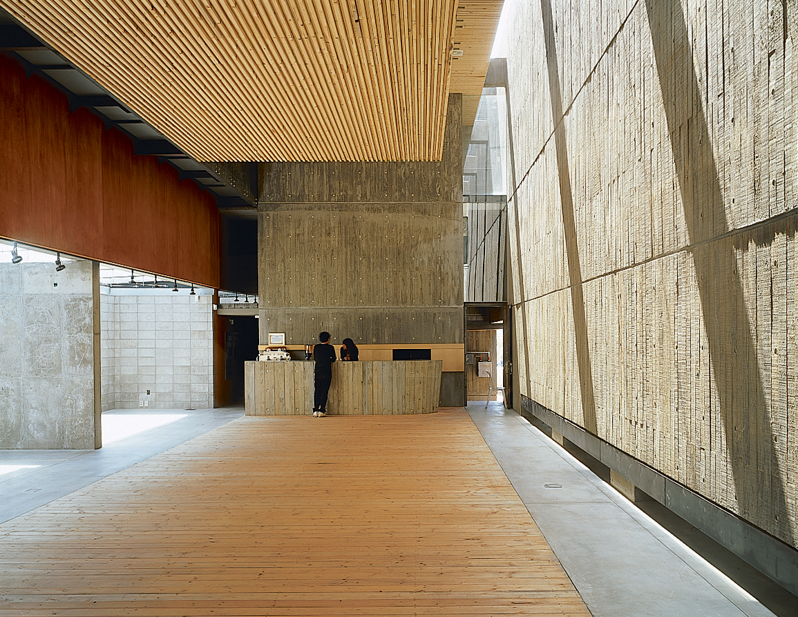 The slatted yellow pine form allows for superior acoustics.