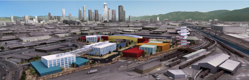 One concept for L.A'.s Cleantech Manufacturing Center, a campus for a large green corporation.