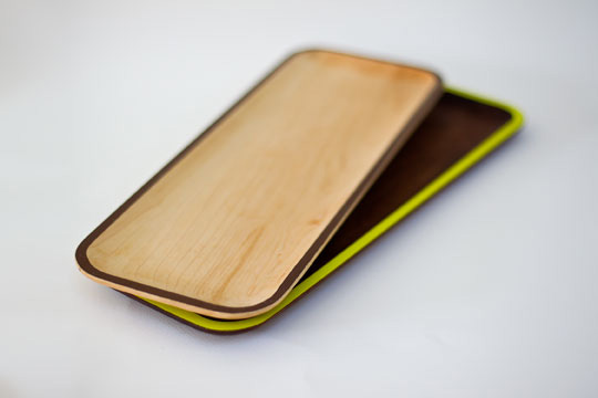 Maple and walnut trays by David Rasmussen Design.