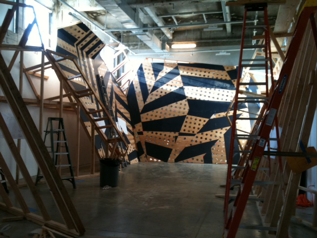 "An in-progress shot of the exhibition. ""Outside, it looks like a boat in dry dock,"" says Bestor."