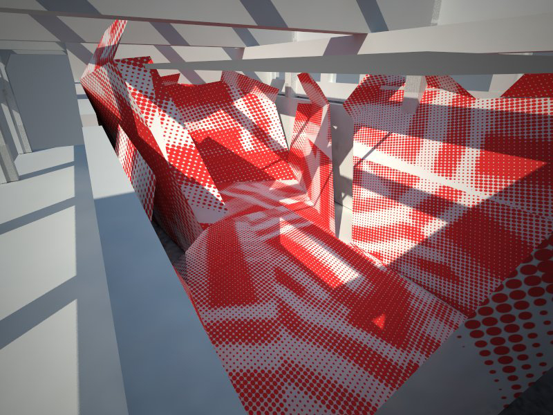 A rendering of the exhibition showing the graphic pattern on the surfaces of the structure. The pattern is derived from a WWII military technique that used bold graphic and anamorphic surfaces to mislead enemy bombers about the size, speed and direction o